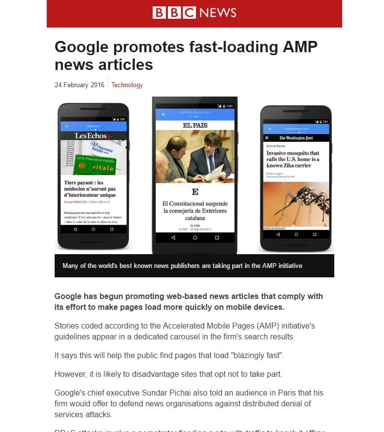 An AMP page of the same article, stripped, down to basics.